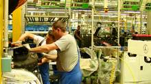 Workers at Ludwigsfelde Daimler-Mercedes plant. (Doug Saunders/Doug Saunders/The Globe and Mail)