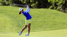 Mi Hyang Lee of South Korea hits her 2nd shot on the 18th fairway during the third round of the Manulife LPGA Classic at Whistle Bear Golf Club on September 3, 2016 in Cambridge, Ont. (Vaughn Ridley/Getty Images)