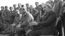 An archival photo showing Israeli Prime Minister Golda Meir, with her defence minister Moshe Dayan, at left.