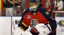 Mar 7, 2014; Sunrise, FL, USA; Florida Panthers goalie Roberto Luongo (1) before a game against the Buffalo Sabres at BB&T Center. Mandatory Credit: Robert Mayer-USA TODAY Sports (Robert Mayer/USA Today Sports)
