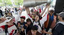 Winnipeg hockey supporters rally at The Forks in Winnipeg, Tuesday May 31, 2011 after the announcement that an NHL team will be returning to the city after 15 years. (DAVID LIPNOWSKI/THE CANADIAN PRESS)