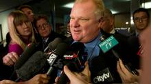 Mayor Rob Ford speaks to media at city hall following a court decision granting him a stay in Toronto, Ontario Wednesday, Dec. 5, 2012. The decision allows him to remain in office while lawyers argue his appeal. (Kevin Van Paassen/The Globe and Mail)
