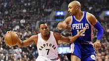 Toronto Raptors guard Kyle Lowry (7) drives to the net against Philadelphia 76ers guard Gerald Henderson (12) during first half NBA basketball action in Toronto on Monday, November 28, 2016. (Nathan Denette/THE CANADIAN PRESS)