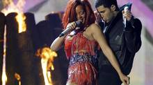Drake and Rihanna perform What's My Name at the 53rd annual Grammy Awards in Los Angeles, California February 13, 2011. (LUCY NICHOLSON/REUTERS)