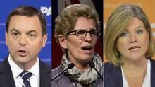Ontario Progressive Conservative Leader Tim Hudak, Liberal Premier Kathleen Wynne and NDP Leader Andrea Horwath. (FRANK GUNN, GALIT RODAN AND NATHAN DENETTE/THE CANADIAN PRESS)