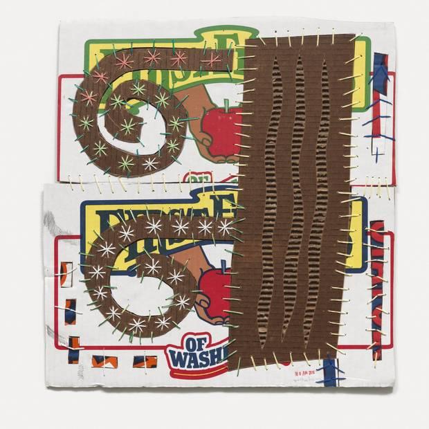 Mark DeLong's Double Nite, 2016 cotton thread on cardboard Courtesy of the Artist