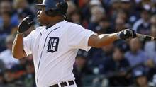 Detroit Tigers' Delmon Young watches as he connects with a single to drive in teammate Omar Infante in the first inning during Game 4 of their MLB ALCS baseball playoff series against the New York Yankees in Detroit, Michigan, October 18, 2012. (JESSICA RINALDI/REUTERS)