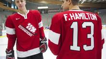 Team Canada brothers Dougie Hamilton, left, and Freddie Hamilton (Nathan Denette/The Canadian Press)