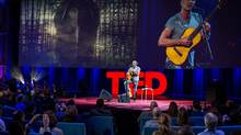 Sting addresses an audience at the TED 2014 conference as a speaker more than a singer on March 18, 2014. (Ryan Lash)