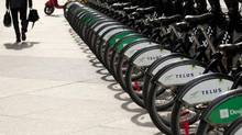 Bixi bike rack in Toronto's financial district April 30, 2013. (Moe Doiron/The Globe and Mail)