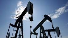 Pumpjacks at work pumping crude oil near Halkirk, Alta., in this file photo. (Larry MacDougal/THE CANADIAN PRESS)