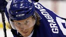 Toronto Maple Leafs forward Mikhail Grabovski waits for a face-off against the Buffalo Sabres during the second period of their NHL pre-season hockey game in Toronto September 27, 2010. REUTERS/Mike Cassese (Mike Cassese/Reuters)