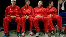 From left to right, Canada's Frank Dancevic, of Niagara Falls, Ont., Vasek Pospisil, of Vernon, B.C., Daniel Nestor, of Toronto, Ont., and Milos Raonic, of Toronto, Ont., attend the draw for the Davis Cup tennis tie against Spain in Vancouver, B.C., on Thursday January 31, 2013. The matches are being held Feb. 1-3. (DARRYL DYCK/THE CANADIAN PRESS)
