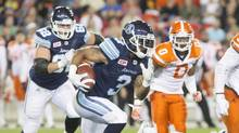 Toronto Argonauts running back Brandon Whitaker carries the ball against the BC Lions, in Toronto on Wednesday, August 31, 2016. (Chris Young/THE CANADIAN PRESS)