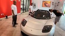 A Roadster Sport on the floor of the Tesla Motors first South Florida showroom, on December 17, 2009 in Dania Beach, Fla. (Joe Raedle/Joe Raedle/Getty Images)