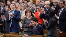 Prime Minister Justin Trudeau receives applause after commenting on the Quebec City mosque shootings in the House of Commons on Parliament Hill in Ottawa on Monday, Jan. 30, 2017. (Adrian Wyld/THE CANADIAN PRESS)