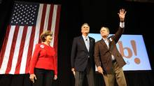 Republican presidential candidate Jeb Bush (C) stands with his brother, former President George W. Bush (R) and former First Lady Laura Bush (L) at a campaign rally on February 15, 2016 in North Charleston, South Carolina. (Spencer Platt/Getty Images)