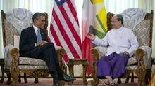 U.S. President Barack Obama meets with Myanmar's President Thein Sein at the Yangon Parliament building in Yangon, Myanmar, Monday, Nov. 19, 2012. This is the first visit to Myanmar by a sitting U.S. President. (Carolyn Kaster/AP)