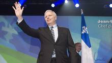 The new Parti Quebecois leader Jean-Francois Lisee waves to supporters after he was elected at the Parti Quebecois leadership event, Friday, October 7, 2016 in Levis Que. (Jacques Boissinot/THE CANADIAN PRESS)