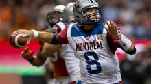 Montreal Alouettes' quarterback Josh Neiswander passes against the B.C. Lions during the second half of a CFL football game in Vancouver, on Sunday September 15, 2013. (DARRYL DYCK/THE CANADIAN PRESS)