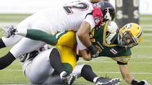Calgary Stampeders Juwan Simpson (12) and Cordarro Law (49) sack Edmonton Eskimos quarterback Mike Reilly (13) during first half action in Edmonton, Alta., on Friday September 6, 2013. (JASON FRANSON/THE CANADIAN PRESS)