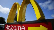 A McDonald's restaurant sign is seen at a McDonald's restaurant in Del Mar, California April 16, 2013. (MIKE BLAKE/REUTERS)