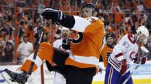 Philadelphia Flyers' Jeff Carter celebrates after his goal in the second period of Game 5 of the NHL hockey Eastern Conference finals against the Montreal Canadiens, Monday, May 24, 2010, in Philadelphia. (Matt Slocum)