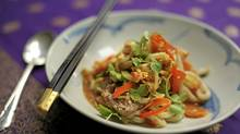 Essentially noodles with vegetables and lamb, lagman originated in Turkistan, now part of China?s Xingjian province. (Fred Lum for The Globe and Mail)