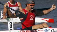 Adam Van Koeverden (front) of Canada celebrates winning the men's K1 1000m final during the ICF Canoe and Kayak Sprint World Championships in Szeged, 170km (106 miles) south of Budapest, August 19, 2011. REUTERS/Laszlo Balogh (Laszlo Balogh/Reuters)
