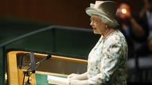 The Queen addresses the United Nations General Assembly at the U.N. Headquarters in New York, July 6, 2010. (JESSICA RINALDI/REUTERS)