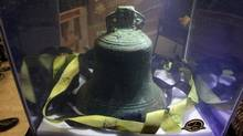 Parks Canada displays the bell found from Sir John Franklin's HMS Erebus ship on November 6, 2014 in Ottawa. (Dave Chan for The Globe and Mail)