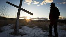 Gordon Sebastian is interpretive tour guide and security guard at St. Eugene Resort in Cranbrook at the in the cemetery attached to the former residential school. (John Lehmann/The Globe and Mail)