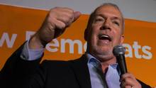 NDP Leader John Horgan speaks after NDP candidate Jodie Wickens won a provincial byelection in the riding of Coquitlam - Burke Mountain, in Coquitlam, B.C., on Tuesday February 2, 2016. (DARRYL DYCK For The Globe and Mail)