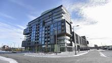 The Canary District condominiums and stacked townhomes being built on the West Don Lands. (Fred Lum/The Globe and Mail)