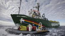 Greenpeace ship Arctic Sunrise enters the Northern Sea Route (NSR) off Russia's coastline to protest against Arctic oil drilling, Saturday, Aug. 24, 2013. (Will Rose/AP)