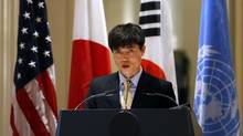 In this Sept. 23, 2014, file photo, North Korean human rights activist Shin Dong-hyuk delivers remarks during an event on human rights in North Korea at the Waldorf Astoria Hotel in New York City. (Jason DeCrow/Associated Press)