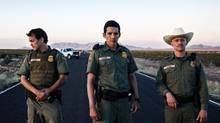 Gabriel Luna, Johnny Simmons and Clifton Collins Jr. star in Transpecos. (Jane Houle)
