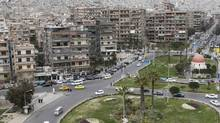A general view shows the Al Maysat roundabout in Damascus March 11, 2012. (KHALED AL-HARIRI)