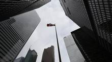 Looking up at four of Canada's major banks from the south west corner of Front King. West and Bay St. on March 30. (Fred Lum/The Globe and Mail)