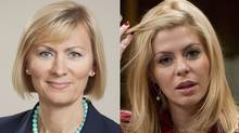 Natalia Lishchyna, left, and Eve Adams have both withdrawn their bids for the Conservative nomination in the Ontario riding of Oakville North-Burlington.
