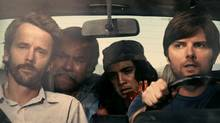 Joel Bissonnette (Tobey), Victor Martinez (Alberto), Roberto Enrique (Manuel) and Adam Scott (Michael) © Green Car Movie Company Inc.