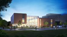 St. Jerome's two-storey academic building will be built in Waterloo, Ont., redefining the entry to the Catholic campus and giving it a new welcoming face. A seven-storey student residence will also be built. (Diamond Schmitt Architects)