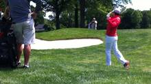 Rory McIlroy playing out of the rough on No. 18 at Oak Hill during a recent practice round (Jeff Brooke)
