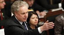 Quebec's Premier Jean Charest speaks during the questions period at the National Assembly in Quebec City February 14, 2012. (MATHIEU BELANGER/MATHIEU BELANGER/Reuters)