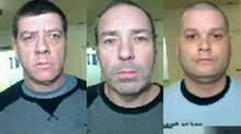 Denis Lefebvre, Serge Pomerleau and Yves Denis are shown in police handout photos. Quebec Provincial Police say three inmates have escaped from the Orsainville Detention Centre in Quebec City with the help of a green helicopter. (SÛRETÉ DU QUÉBEC/THE CANADIAN PRESS)