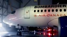 Bombardier CSeries100 aircraft prior to a news conference in Montreal, Feb. 17, 2016. (CHRISTINNE MUSCHI/REUTERS)