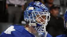Ben Scrivens of the Toronto Maple Leafs celebrate a win against the Ottawa Senators during preseason NHL action at the Air Canada Centre September 19, 2011 in Toronto, Ontario, Canada. (Abelimages/Getty Images)