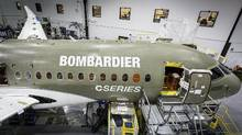 A Bombardier C series jet under construction is seen in this handout photo taken in Mirabel, Que. (Handout)