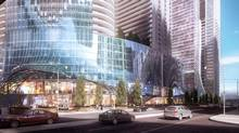 Street-level rendering of the planned One Yonge Street redevelopment by Hariri Pontarini Architects for Pinnacle International. (Hariri Pontarini Architects)