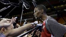 Miami Heat's Chris Bosh listens to questions from the media during NBA basketball practice, Wednesday, June 5, 2013 in Miami. (Lynne Sladky/AP)